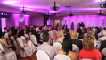 This image shows the wedding ceremony and the reception that was held in a multi-purpose meeting room so the clients used our lighting services to enhance the décor. Photo by Artistic Illumination.