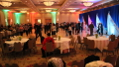 This image shows a combination of up-lighting and back-lighting décor injecting energy into this Friday afternoon dance party.